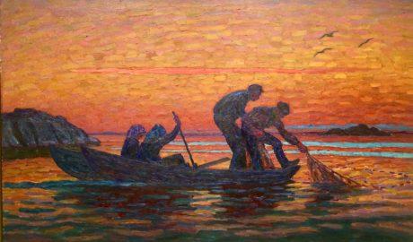 Strömmingsfiske i soluppgången
